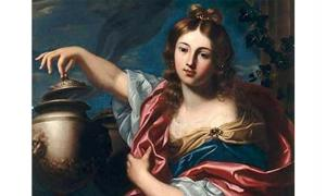 Pandora, lifting the lid of the 'pithos'. By Nicolas Régnier