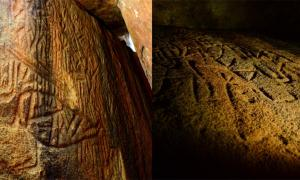 Left; Danigala Chithra Lena, Sri Lanka Petroglyphs - Linear chamber entrance and left wall representing sections of the Petroglyphs, includes anthropomorphic figures, Image © EASL | CCF-Polonnaruwa. Right; Left side wall at the middle of linear chamber representing anthropomorphic figures like human and bind code of mastermind.  Image © EASL | CCF-Polonnaruwa