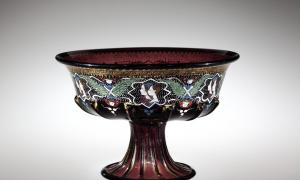 This piece of glass, a footed bowl, was blown about 1500 in Venice and enameled in the late 19th century in France.