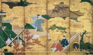 Folding Screen with Design of the Scenes from The Tales of Genji by anonymous painter. Tokyo Fuji Art Museum (Public Domain)