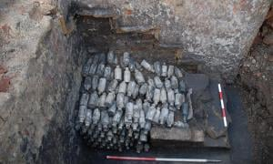 Hundreds of bottles of poisonous beer have been found at the site in Leeds, England. Source: Archaeological Services WYAS
