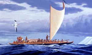 An illustration of ancient Polynesians