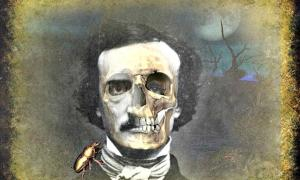 Digital illustration of a portrait of Edgar Allan Poe