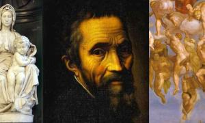 A portrait of Michelangelo flanked by his sculpture 'Madonna of Bruges' and a detail of the Redeemed from his painting of 'The Last Judgement.'