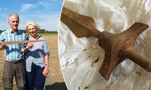 The Pre-Viking sword found by metal detectorists in eastern Denmark.