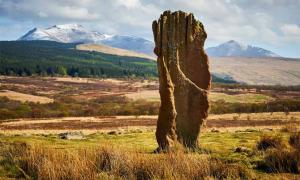 Prehistoric standing stone on Machrie Moor, Isle of Arran. A prehistoric temple has also been discovered recently on the island.