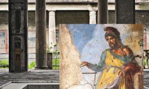 Priapus fresco at the House of Vettii in Pompeii