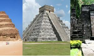 Deriv; Step Pyramid of Djoser, Egypt., El Castillo (pyramid of Kukulcán) in Chichén Itzá, Mexico, Candi Sukuh in eastern Central Java