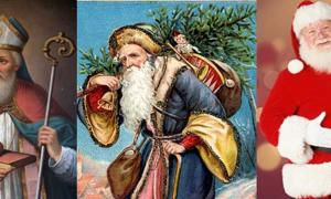 Which is the real Santa Claus? Portrait of Saint Nicholas (BigStockPhoto), Santa Claus with tree and sack (Public Domain), and a modern depiction of Santa Claus.