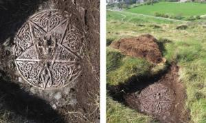 The satanic plaque and altar found in The Queen's Holyrood Park, Edinburgh, Scotland.