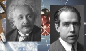 Neils Bohr, ca. 1922 (R) and Albert Einstein.