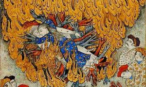 17th century illustration of a woman committing sati: self-immolation on her husband's funeral pyre.