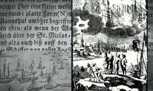 A 1680 engraving accompanying a description by Erasmus Francisci of a battle between ships in the sky said to take place in 1665.