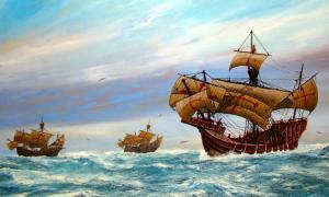 Painting depicting La Niña, La Pinta, and the Santa Maria. San Diego Maritime Museum.