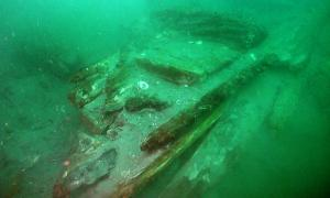 The front of the shipwreck believed to be from a failed 1281 Mongolian invasion on the sea floor off a Japanese island