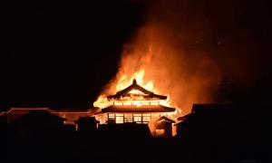 Shuri Castle, Okinawa, Japan engulfed by fire.           Source: Twitter