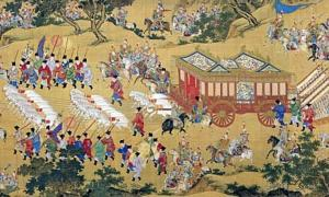 A famous silk scroll, The Emperor Approach, showing the luxury in which the Chinese emperor travelled during the Ming Dynasty, more than a thousand years after Fu Sheng short and brutal rule