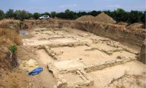 Excavations at the site of Helike. In this case, a Hellenistic-era building; possibly used as a dye-works