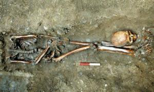 One of the skeletons excavated by York Archaeological Trust at Driffield Terrace had his head positioned near his feet.