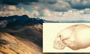 Lithograph of Pervuian elongated skulls by J. Basire, 1842, and a Peruvian landscape. (Public Domain/Deriv)