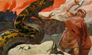 Thor and the Midgard Serpent, Emil Doepler painting.