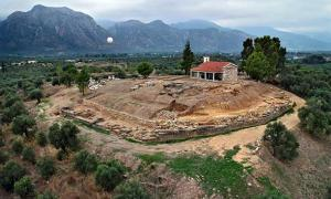 A handout photo released by the Greek Ministry of Culture shows the excavations site with remains of a palace of the Mycenaean period, bearing important inscriptions in archaic Greek, discovered near Sparta in the Peloponnese region of Greece.