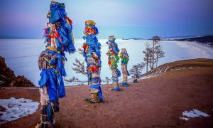 Spirit poles on Olkhon Island, Lake Baikal, Russia.