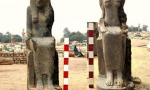 Two of the statues of the goddess Sekhmet.