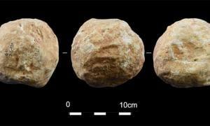 Stone balls, aka petrospheres were found at Qesem cave, Israel.        Source: Assaf et al 2020