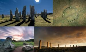 Four famous stone circles in the British Isles: Callanish Standing Stones (Fredy Jeanrenaud /Adobe Stock), Merry Maidens in Cornwall (Newlands Aerial /Adobe Stock), Castlerigg (Y. Jorzik-Brzelinski /Adobe Stock), and the Ring of Brodgar. (David Woods /Adobe Stock)