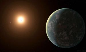 Only 31 light-years away from Earth, the exoplanet GJ 357 d – the recently discovered 'super-Earth' catches light from its host star GJ 357, in this artistic rendering. Source: Jack Madden/Cornell University