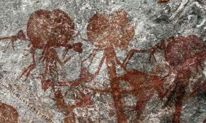 A trio of anthropomorphic figures from the Tanzanian cave art at the Amakhee 4 site.