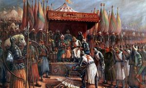 Saladin and Guy de Lusignan after battle of Hattin in 1187.