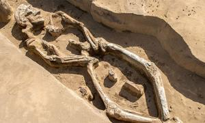 The skeleton was found in an unusual position in his grave in the Russian Far East.