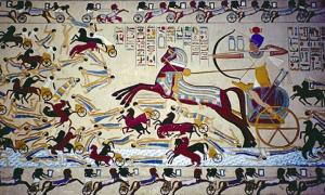 A depiction of Ahmose fighting back the Hyksos from Egypt.  Source: Public domain