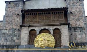 Replica of the Golden Sun Disk on display outside the Coracancha Temple, used in modern day festivals in Cuzco.