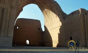 Remains of Taq Kasra in 2008. Arch of Cstesiphon, Capital city of King Ardashir (Public Domain)