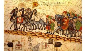 A 14th century depiction of a camel caravan on the Silk Road.