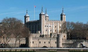 Tower of London as viewed from across the River Thames.