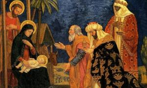 The Magi with baby Jesus, Mary and Joseph. Source: Henry Siddons Mowbray / Public domain