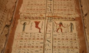 A detail of the star chart of Idy of Asyut showing the sky goddess Nut holding up the heavens at the top.