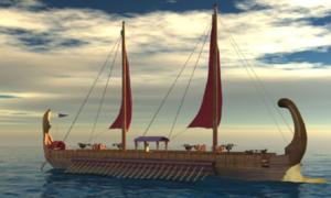 An ancient Egyptian ship. Sailors sent out by Pharaoh Necho II saw some of the first hints that the world is not flat.