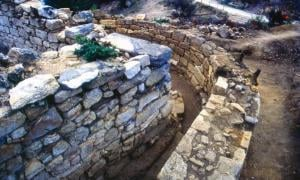 The excavated tomb in Stagira that archaeologists say belongs to Aristotle