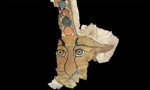 Virtual rendition of the painting of the leopard face found on the ancient Egyptian sarcophagus.         Source: University of Milan