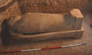 A limestone sarcophagus of an unknown person has been unearthed near Aswan. Some of the sarcophagi at the site have mummies intact.