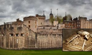 The Tower of London (Photocreo Bednarek /Adobe Stock). Inset: Representational image of a skeleton (tuulimaa / Adobe Stock)