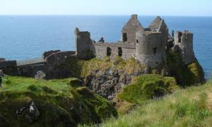 View of Dunluce Castle, County Antrim, Ireland
