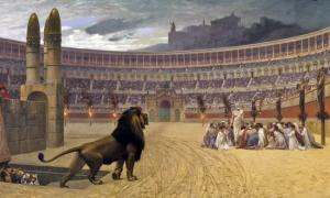 Wild carnivorous animals emerge from a trap door into the Colosseum. 'The Christian Martyrs' Last Prayer, by Jean-Léon Gérôme, 1883.