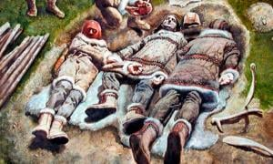 Artist's representation of the triple burial of Dolni Vestonice