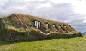 A row of turf houses in Iceland.